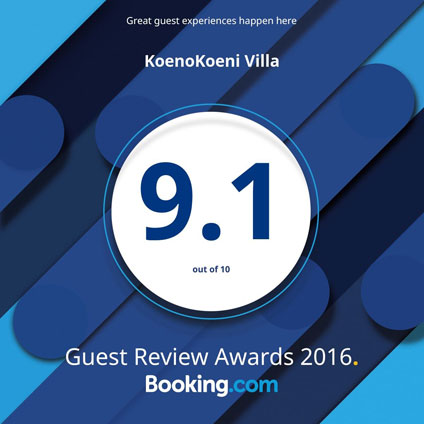 KoenoKoeni Villa Seminyak Bali Booking.com Awards