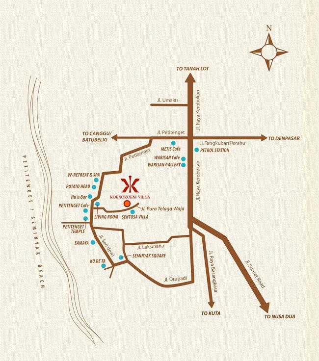 KoenoKoeni Villa Seminyak Bali Map